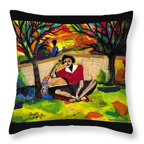 African American Throw Pillow featuring the painting Me And Mom by Everett Spruill