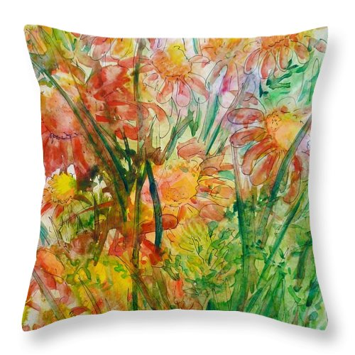 Meadow Flowers Throw Pillow featuring the painting Meadow Flowers by Zaira Dzhaubaeva