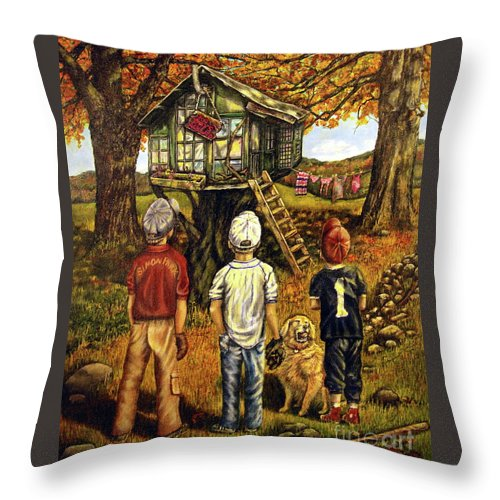 Trees Throw Pillow featuring the painting Meadow Haven by Linda Simon