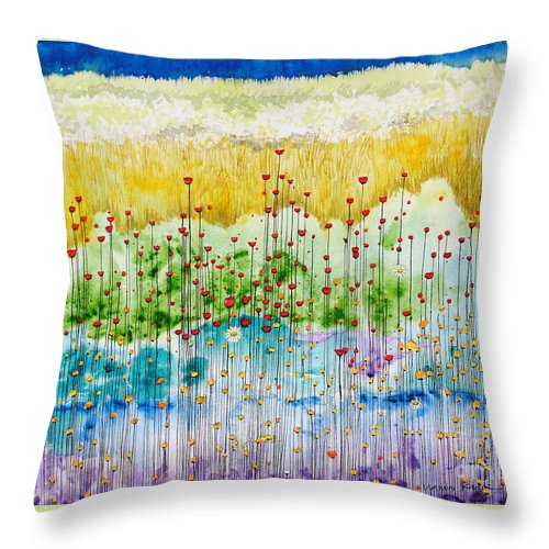 Meadow Throw Pillow featuring the painting Meadow by Studio A