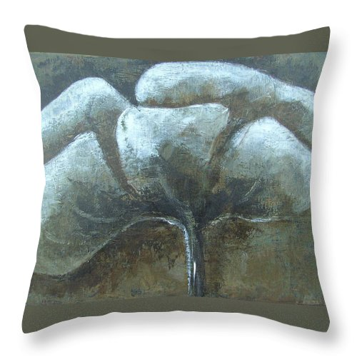 Flower Throw Pillow featuring the painting Meadowflower by Liesbeth Verboven