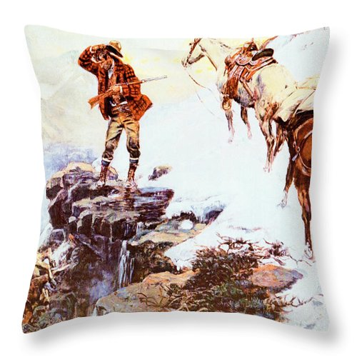 Charles Russell Throw Pillow featuring the digital art Meats Not Meat Til Its In The Pan by Charles Russell