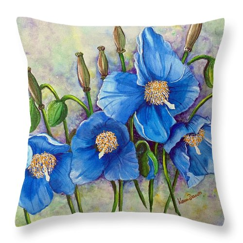 Blue Hymalayan Poppy Throw Pillow featuring the painting Meconopsis  Himalayan Blue Poppy by Karin Dawn Kelshall- Best
