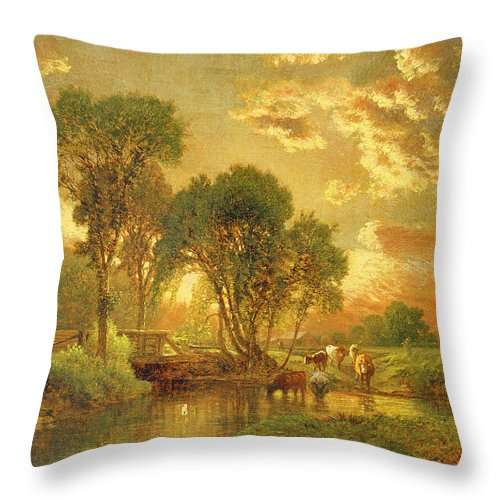 Inness Throw Pillow featuring the painting Medfield Massachusetts by Inness
