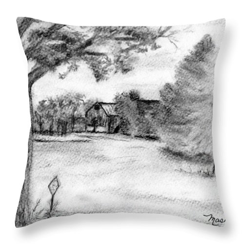 Farm Throw Pillow featuring the drawing Medford Farm by Sheila Mashaw