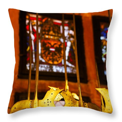 Photography Throw Pillow featuring the photograph Medieval Armory, Chateau Du by Panoramic Images