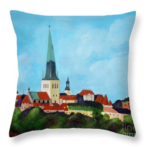 Tallinn Throw Pillow featuring the painting Medieval Tallinn by Laurie Morgan