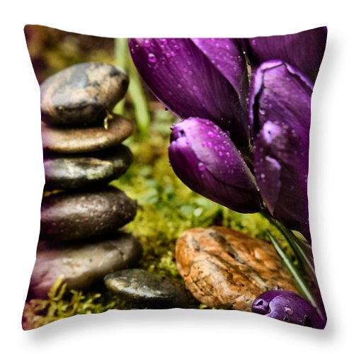 Tulips Throw Pillow featuring the photograph Meditating Tulips by Sally Bauer