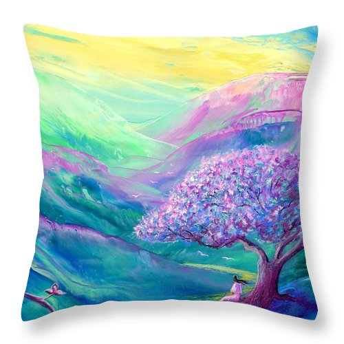 Spring Throw Pillow featuring the painting Meditation In Mauve by Jane Small