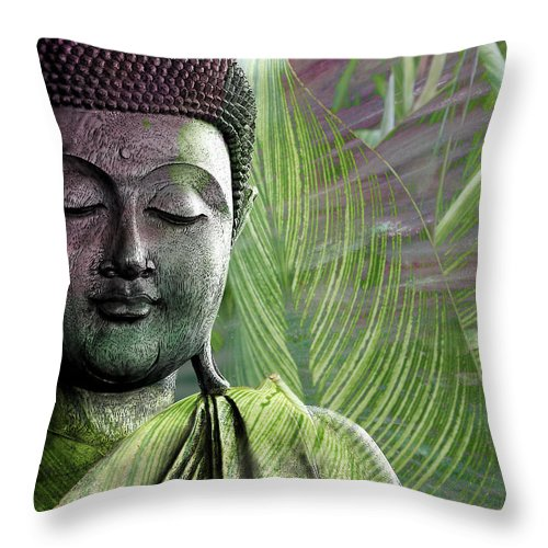 Buddha Throw Pillow featuring the mixed media Meditation Vegetation by Christopher Beikmann