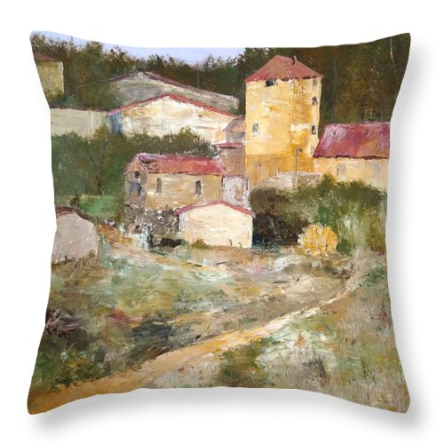 Italy France Throw Pillow featuring the painting Mediterranean Farm by Alan Lakin