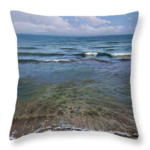 Sea Throw Pillow featuring the painting Mediterraneo by Jose Higuera