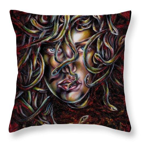 Medusa Throw Pillow featuring the painting Medusa No. Three by Hiroko Sakai