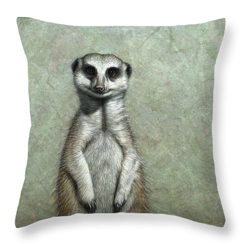Meerkat Throw Pillow featuring the painting Meerkat by James W Johnson