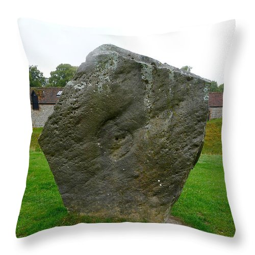 Avebury Throw Pillow featuring the photograph Megalith At Avebury by Denise Mazzocco