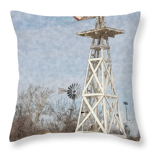 Megan's Windmill Throw Pillow featuring the photograph Megan's Windmill by Liane Wright