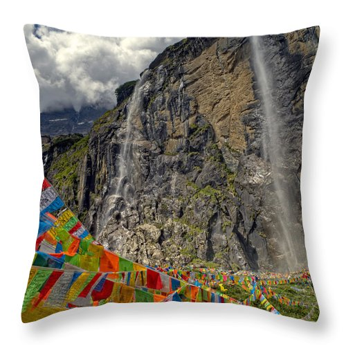 Adventure Throw Pillow featuring the photograph Meili Mountain Sacred Waterfall by James Wheeler