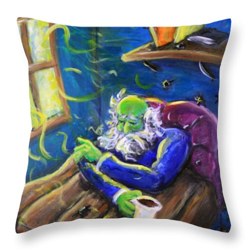 Throw Pillow featuring the painting Melancholy by Jason Gluskin
