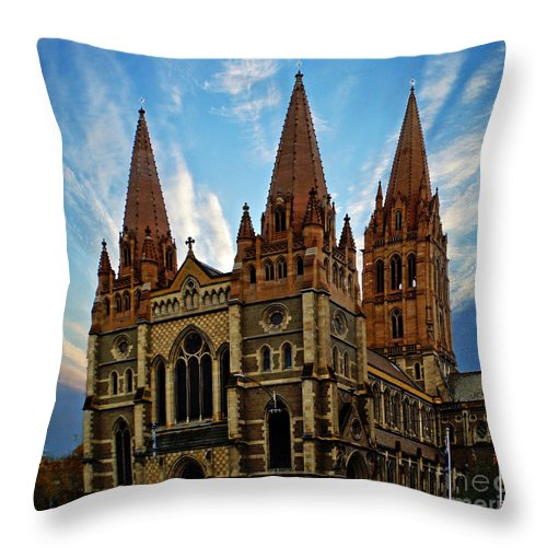 Building Throw Pillow featuring the photograph Melbourne Church by Ben Yassa