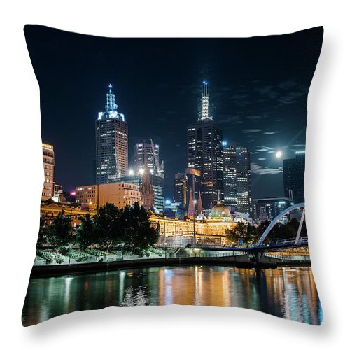 Clock Tower Throw Pillow featuring the photograph Melbourne In Night by Kenji Lau