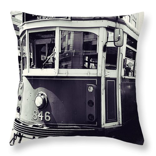 Melbourne Tram Throw Pillow featuring the photograph Old Tram In Melbourne by Javier Gomez
