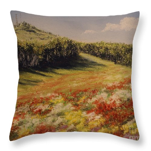 Summer Landscape Throw Pillow featuring the pastel Melkow Trail by Stanza Widen