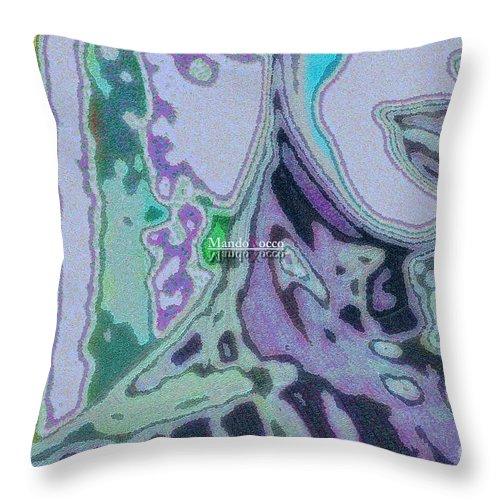 Design Throw Pillow featuring the mixed media Mellody-blue by Mando Xocco