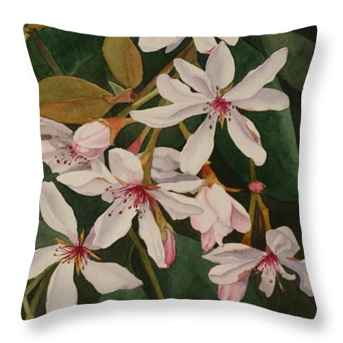 Jan Lawnikanis Throw Pillow featuring the painting Melody by Jan Lawnikanis