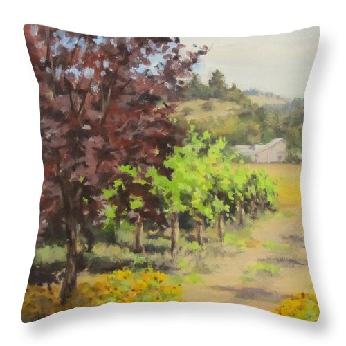 Acrylic Throw Pillow featuring the painting Melrose Morning by Karen Ilari