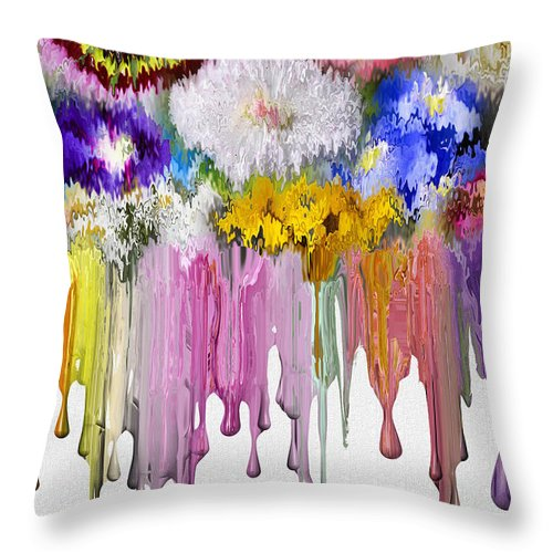 Flowers Throw Pillow featuring the digital art Melting Flowers by Nina Bradica
