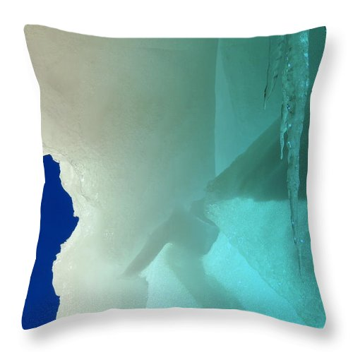 Ice Throw Pillow featuring the photograph Melting Frozen by Mim White