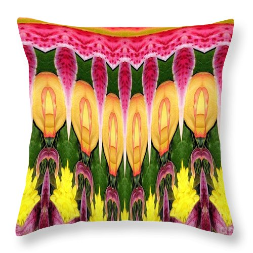 Melting Throw Pillow featuring the photograph Melting Lily And Chrysanthemums Abstract by Rose Santuci-Sofranko