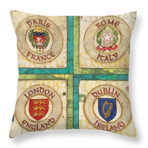 Maps Throw Pillow featuring the painting Melting Pot Patch by Debbie DeWitt