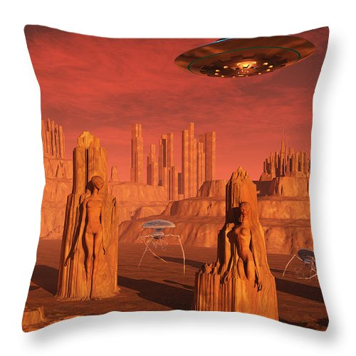 Horizontal Throw Pillow featuring the digital art Members Of The Planets Advanced by Mark Stevenson