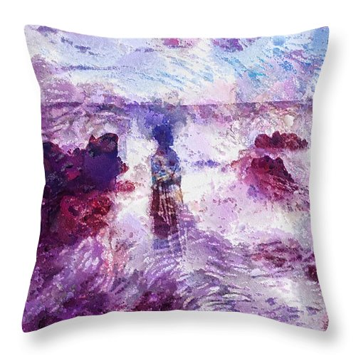 Memories Throw Pillow featuring the painting Memories by Mo T
