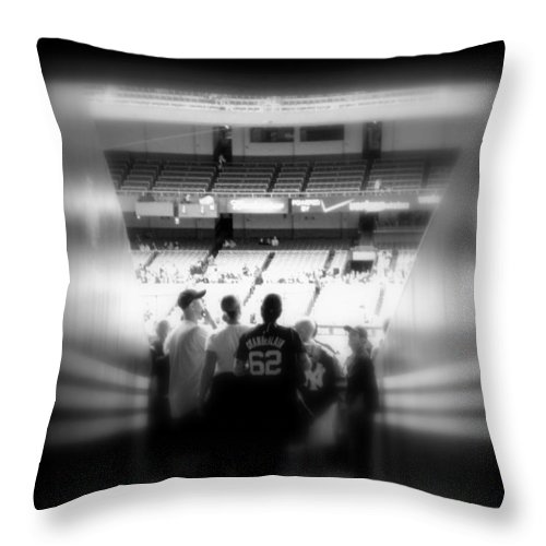 Yankees Throw Pillow featuring the photograph Memories Of Entering The Cathedral Of Baseball by Aurelio Zucco