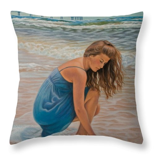 Realism Throw Pillow featuring the painting Memories Of The Sea by Holly Kallie