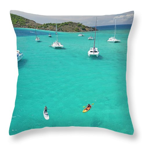 Scenics Throw Pillow featuring the photograph Men Doing Water Activities by Karl Weatherly