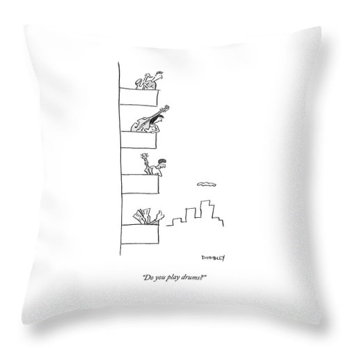 Men Playing Instruments On Different Levels Throw Pillow For Sale By Liza Donnelly