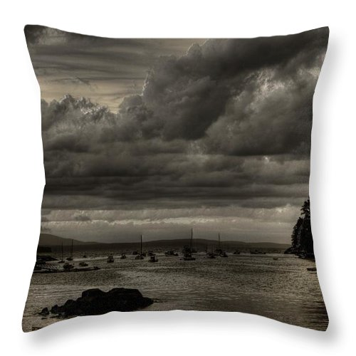 Hdr Throw Pillow featuring the photograph Menacing Clouds by Greg DeBeck