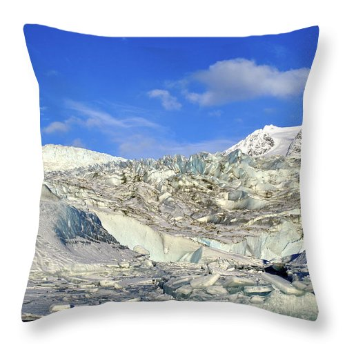Glacier Throw Pillow featuring the photograph Mendenhall Glacier by Cathy Mahnke