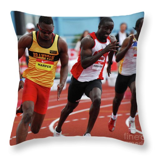 Canadian Track And Field National Championships 2011 Throw Pillow featuring the photograph Mens 200 Meter by Bob Christopher
