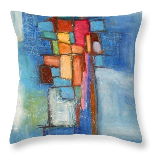 Abstract Throw Pillow featuring the painting Merge by Venus