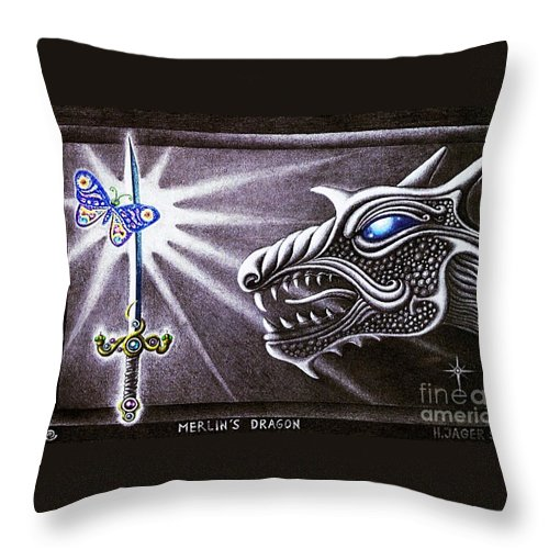 Merlin Throw Pillow featuring the drawing Merlin's Dragon by Hartmut Jager