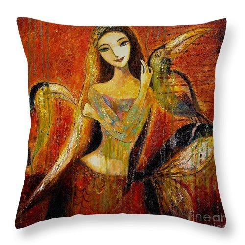 Mermaid Art Throw Pillow featuring the painting Mermaid Bride by Shijun Munns