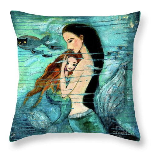 Mermaid Art Throw Pillow featuring the painting Mermaid Mother And Child by Shijun Munns