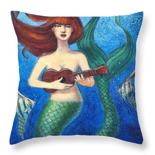 Mermaid.mermaid Art Throw Pillow featuring the painting Mermaid Ukulele Angels by Sue Halstenberg
