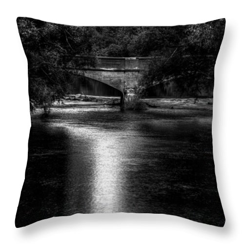 Old Bridge Throw Pillow featuring the photograph Merrill Walk Bridge by Thomas Young