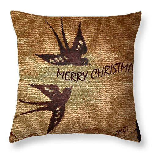 Christmas Greetings Throw Pillow featuring the photograph Merry Christmas 3 by Costinel Floricel