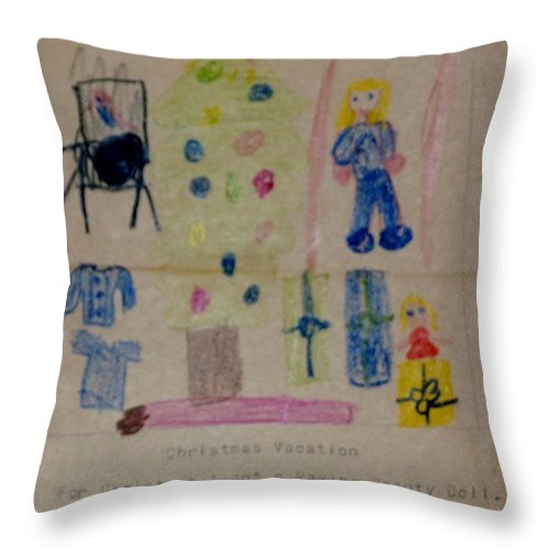Gifts Throw Pillow featuring the drawing Merry Christmas by Erika Chamberlin
